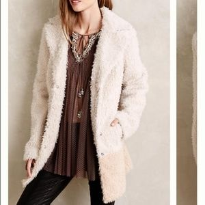 Anthropologie Elevenses Fira Sherpa Faux Fur Coat